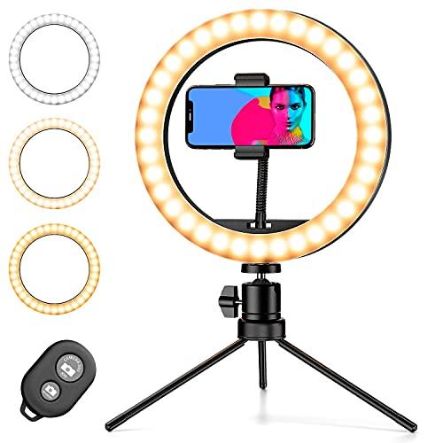 Pipishell Ringleuchte, Selfie Ringlicht mit Fernbedienung und Handy Stativ, 10 inch LED Ringlicht mit 3 Farbe und 10 Helligkeitsstufen, Streaming Licht für Make-up, YouTube, Tiktok, und Foto,usw