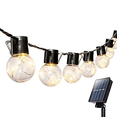 17 Ft. Solar Shatterproof LED Patio Outdoor String Lights with 20 Clear LED Bulbs, Hanging Indoor Waterproof String Lights for Backyard Deck Balcony Bistro Cafe Pergola Party Decoration, Warm White