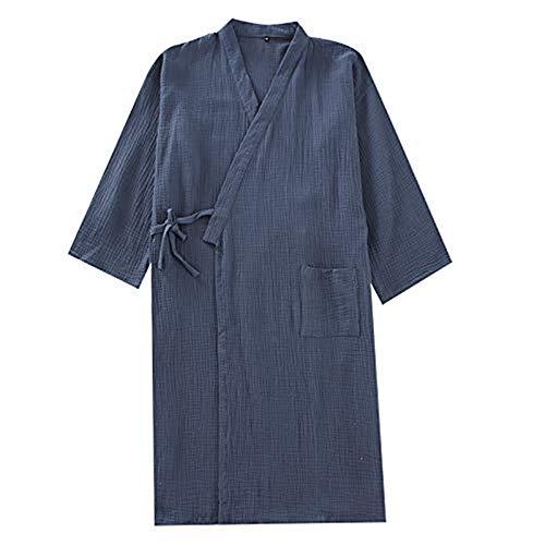 Herren Kimono Morgenmantel Casual Yukata V-Ausschnitt Schlafrock Langarm Schlafmantel Schlafshirt Baumwolle Bademantel Japanische Saunamantel Gemütlich Nachtwäsche Sleepwear mit Tasche (Dunkelblau)