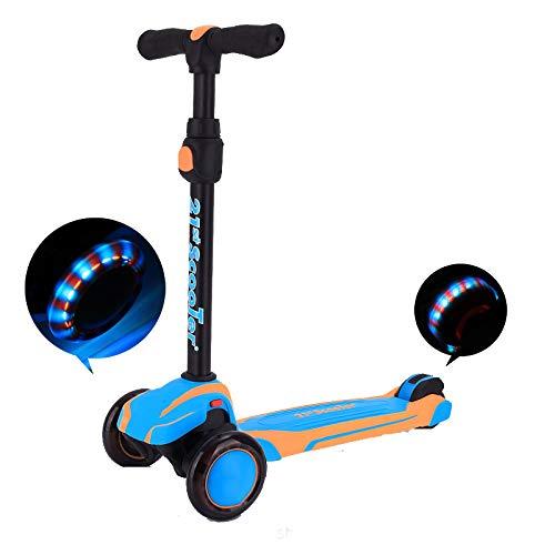 LITIAN Kinder Scooter Dreirädrige Flash-Doppelstoßdämpfung Zwei-Farben-Pedal Hangs für einfache Lagerung Sky Blue