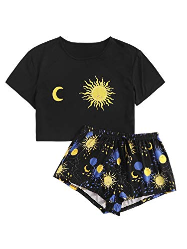 SweatyRocks Women's Cute Graphic Print Short Sleeve Crop Top with Shorts Pajama Set Black M