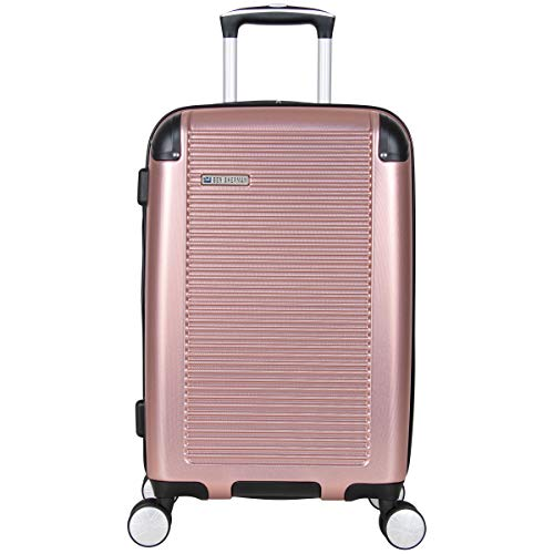 Ben Sherman Norwich Collection Lightweight Hardside PET Expandable 8-Wheel Spinner Luggage, Rose Gold, 20-Inch Carry-On