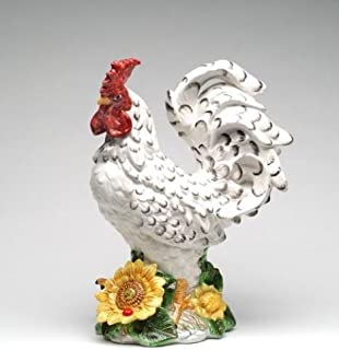 Cosmos 96418 Fine Porcelain Large Rooster with Sunflower Figurine, 15-1/4-Inch, White