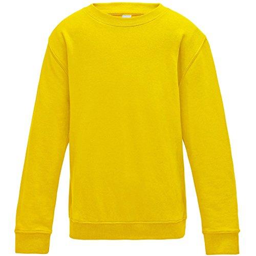 AWDis Just Hoods - Sudadera básica con Cuello Redondo Unisex para niños niñas (9-11 años) (Amarillo Sol)