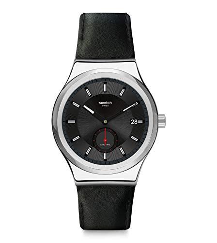 Swatch Mixte Analogique Quartz Montre avec Bracelet en Cuir véritable SY23S400
