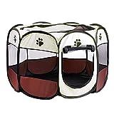 LOVIVER 8 Seitiges Mesh Panel Faltbar Welpenlaufstall Laufstall Hundebox Welpengitter Atmungsaktives Katzengehege für Katzen Hunde Hasen Meerschweinchen - Brown, S
