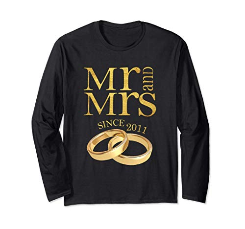 10th Wedding Anniversary Gift Mr & Mrs Since 2011 Couple Long Sleeve T-Shirt