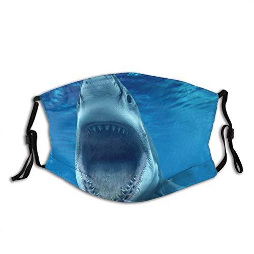 Bufanda facial, tiburón blanco caribeño Aruba turismo buceo tiburones mandíbulas bajo el agua azul escudo facial unisex para correr hombres mujeres camping