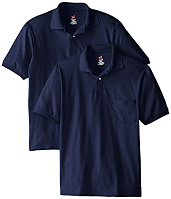 Hanes Men's Short Sleeve Jersey Pocket Polo, Navy, Large (Pack of 2)