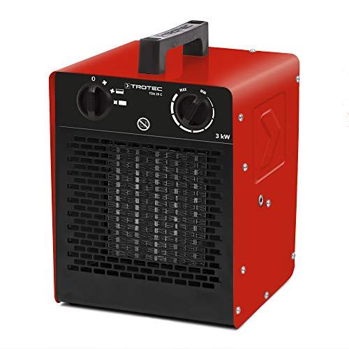 TROTEC 1410000092 TDS 20 C Keramik Heizlüfter Elektroheizer inkl. Mehrstufen-Temperaturregelung bis 3.000 Watt (3 kW) Bauheizer mit Thermostat