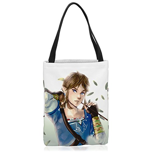 VOID Wild Link Tasche Einkaufs-Beutel Polyester Shopper Einkaufs-Tasche Bag Switch The Breath of SNES Zelda Ocarina, Polyestertasche Größe:Large