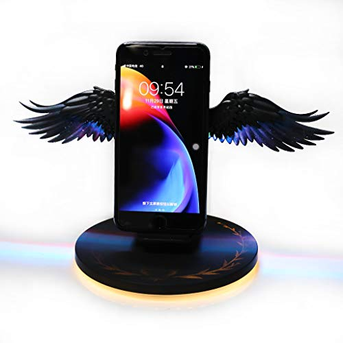 10W Color LED Angel Wings Qi Wireless Fast Charger Stand Holder for Mobile Phone