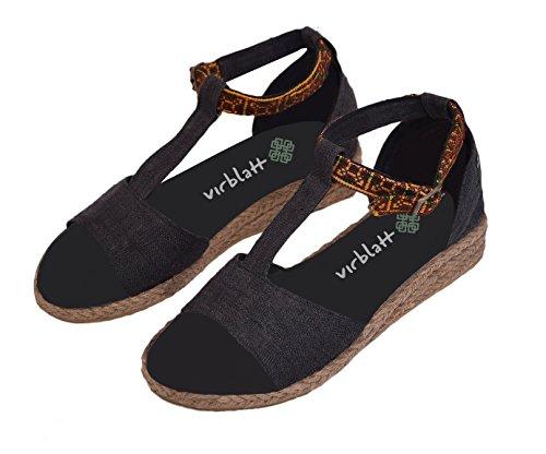 virblatt Hanf Sommer Sandalen Damen mit Keilabsatz und handgefertigter Verzierung in Schwarz und Pink Hippie Schuhe Größe 36 37 38 39 40 41 – Sinnlich bk 38