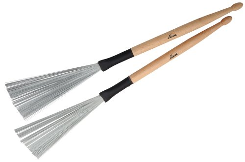 XDrum WTD-1S Wire Tap Drumstick Brushes kurz (Drumstick-Jazzbesen kombination, Besen und Sticks in einem, vielseitig einsetzbar, Gesamtlänge: 37cm, Besenspannweite: 6,5cm)