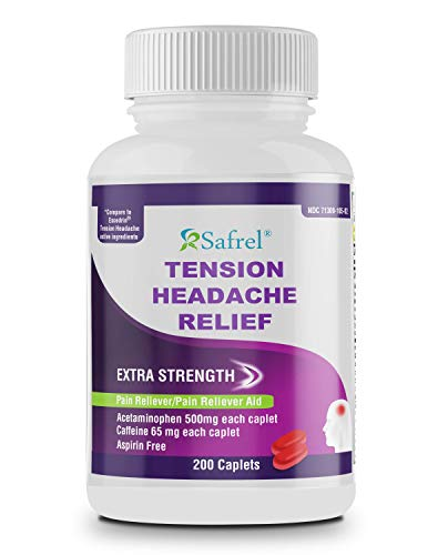 Safrel - Tension Headache Relief Pain Reliever with Acetaminophen 500 mg and Caffeine 65 mg (200 Caplets) Value Pack | Extra Strength for Head and Body Aches | Generic Excedrin Tension Headache