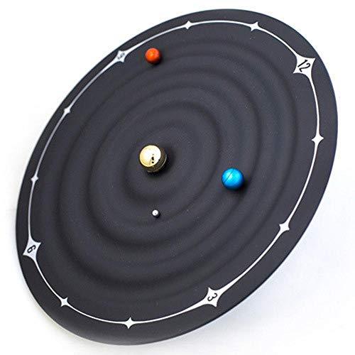 JUNFENG Sistema Solar Reloj 3D magnético Planeta Reloj de Pared Reloj Mudo decoración del hogar Sala de Estar Dormitorio habitación Infantil silencioso Reloj de Cuarzo sin Tic - Negro