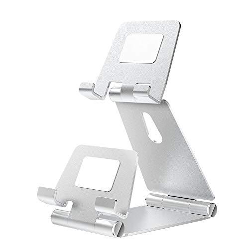 Suading Soporte de teléfono de aleación de aluminio Soporte giratorio de escritorio Soporte de mesa doble para tableta de plata