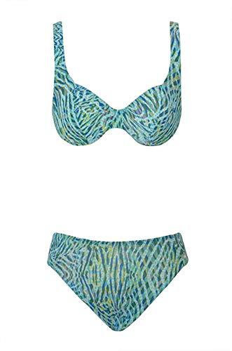 Solar Tan Thru Bügel-Bikini türkis/blau/gelb, Gr. 38 D-Cup