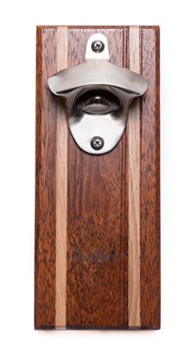 Bruntmor, CAPMAGS Strong Magnetic w/Zinc Alloy Beer Opener & Cap Catcher - Metal Magnetic (Merbau Wood)