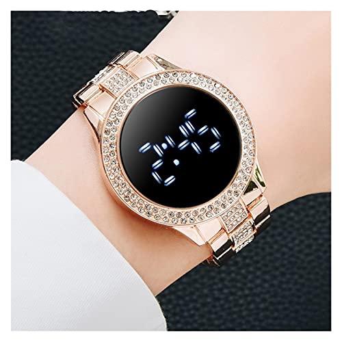 GKXAZ Reloj de imán Digital para Mujer Vestido de Acero Inoxidable Reloj de Cuarzo LED Reloj Femenino (Color : Rose)