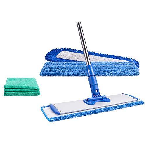 "18"" Professional Microfiber Mop | Reusable Washable Mop Pads | Wet & Dust Mopping Hardwood, Laminate, Tile, & Vinyl Floors | Adjustable Stainless Steel Handle + 2 Free Microfiber Cloths"