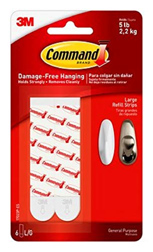 3M 17023P Command Mounting Refill Strips, Large, 6-Strip, 4-Pack