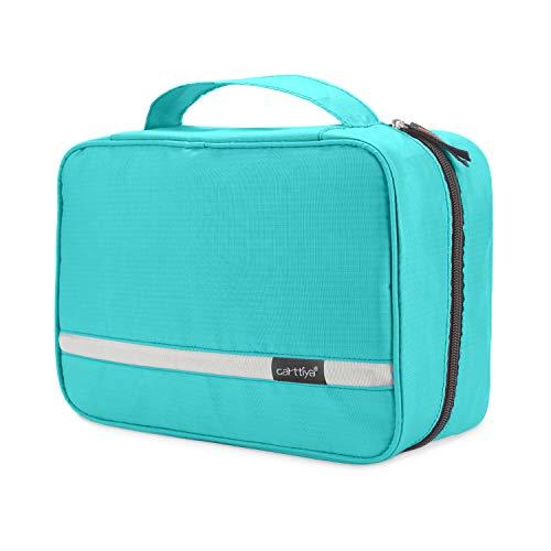 Neceser de Viaje, Neceser Maquillaje Grande para Hombre y Mujer, Carttiya Bolsa de Aseo Impermeable para Colgar (Y Azul Claro)