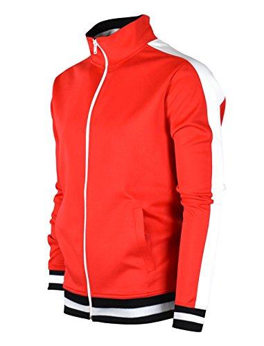 Screenshotbrand Hip Hop Premium Slim Track Chamarra para hombre, cinta lateral, S51700-rojo, 3X-Large