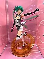 FWSJK 初音ミク PVC.素材図像、アニメキャラクターのひざまずいた姿勢、コンピュータのデスクトップの装飾コレクション、アニメファンとオタクのお気に入りのグッズ - 高23cm、箱入り