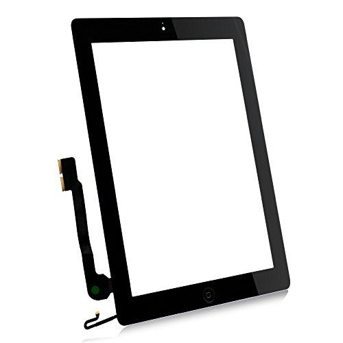 Schwarz für iPad 4 Touch Screen Touch Glas Scheibe Digitizer Display Werkzeuge mit Homebutton