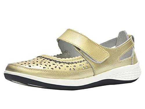 Bailarinas/Mary Jane Merceditas para Mujer, Zapatos Plano Verano para Caminar, Zapatillas de Ballet de Piel Mocasines Transpirables Cómodos Moda Loafers Zapatos de Conducción EU39 (UK6) Dorado