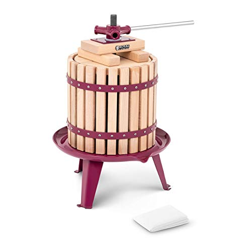 Royal Catering RCWP12LW Obstpresse manuell Weinpresse Saftpresse Fruchtpresse Holz 12 l inkl. Holzblöcke, Druckplatte und 3 Presstücher