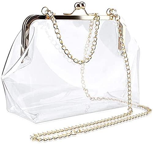 レディース バッグ 斜めがけ 透明 ビニール カバン 2way pvc チェーン付き おしゃれ がま口 痛バッグ 小物入れ 財布…