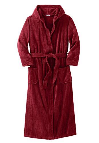 KingSize Men's Big & Tall Terry Velour Hooded Maxi Robe - Tall - L/X, Rich Burgundy