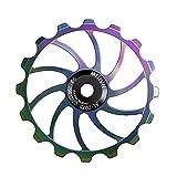 TUCKE Bicicleta polea de cerámica 14T/16T CNC AL-7050 gradiente Color bicicleta rodamiento cadena trasera rueda guía para shimano sram MTB Road accesorios (16T)