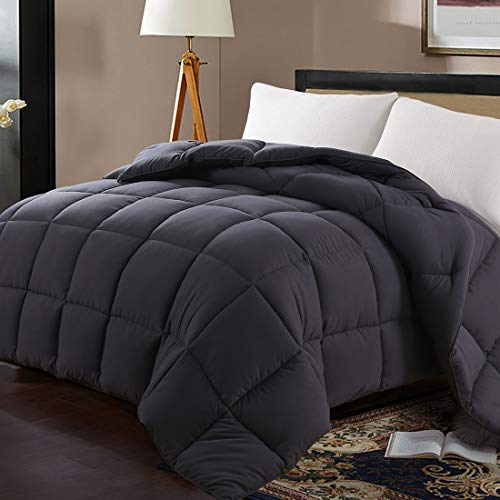 Edilly Luxury Down Alternative Quilted Queen Comforter-Stand Alone Comforter for Queen Size Bed,All Season Duvet Insert with 4 Corner Tabs,88''x 88'',Dark Grey