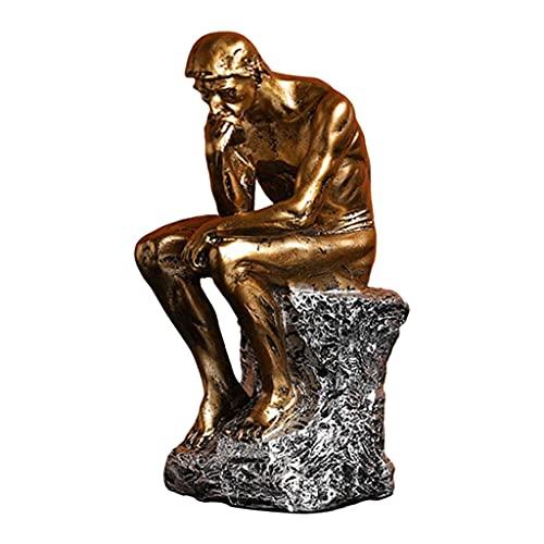 STARTIST 古典的な考える人の像樹脂彫刻キャラクター置物ホームオフィスの装飾北欧スタイルのデスクトップの寝室の装飾のための樹脂工芸品 - ゴールデン