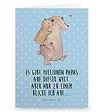 Mr. & Mrs. Panda Glückwunschkarte, Einladungskarte, Grußkarte Papa Bär mit Spruch - Farbe Blau Pastell