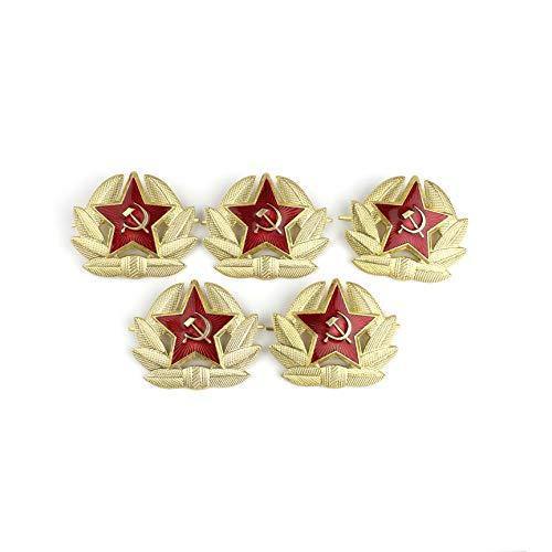 Heka Naturals Cocarda, Pin Militar URSS, Insignia Soviética Extraíble, Escarapela Metálica para Gorro Cosaco | Conjunto de 5