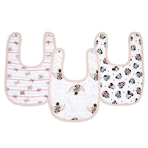 aden + anais essentials - Pack de 3 bavoirs à boutons-pression pour bébé prélavés en mousseline 100% coton - Bavoir très absorbant - Ajustable - Fille - Imprimé Minnie Rainbows - 23 cm x 34 cm