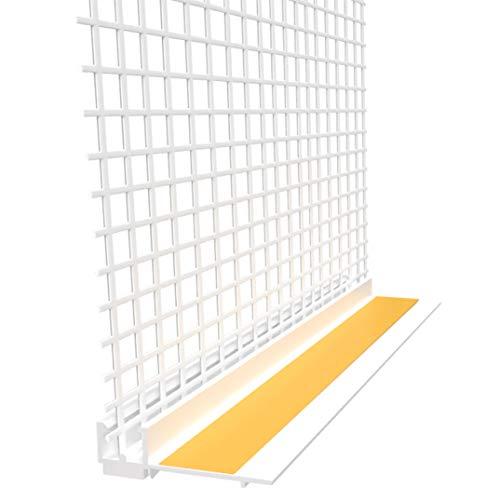 15 Profile Anputzleiste mit Gewebe, Schutzlippe und Abzugskante, 15x 2,1m = 31,5m für 6mm Putz Laibung Leibung Fensterleiste Apu Profil Dichtlippe