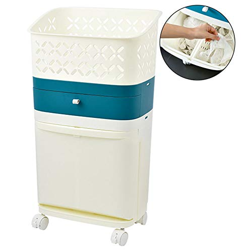 JQXB Doble Bolsas Cestos para la Colada con Ruedas, Gran Servicio de lavandería, Plegable Bolsa de Lavado de Ropa Bin, Impermeable