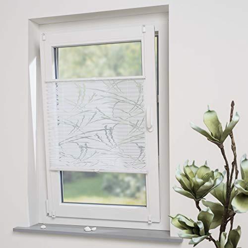 DECOLIA Klemmfix-Plissee verspannt, ohne Bohren oder Schrauben mit ausgebranntem Streifenmotiv, Breite/Höhe: 95 x 130 cm, Farbe: weiß