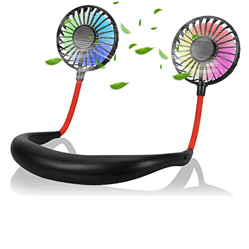 Neck Fans Portable USB Rechargable,Portable Hanging Neck Sports Fan, Wearable Cooler Fan with Lighter Weight 178g Personal Neck Fan with 7 LED Lights Battery Operated Fan without Noise, 2020 Upgraded