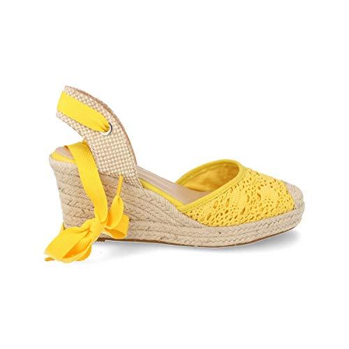 Espardena Valenciana con Cuna de Yute Hecha en Crochet Primavera Verano 2019. Talla 41 Amarillo