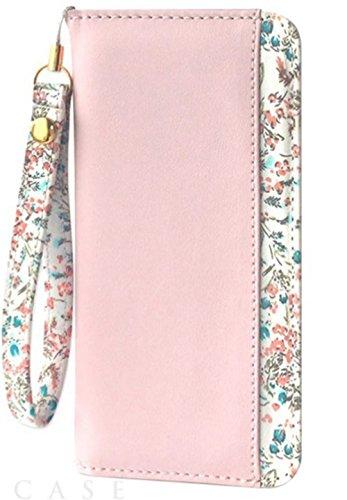 [iPhone6/6s スマホ ケース] 手帳型 カードポケット スタンド機能 付き アイフォン カバー (花柄/ピンク)