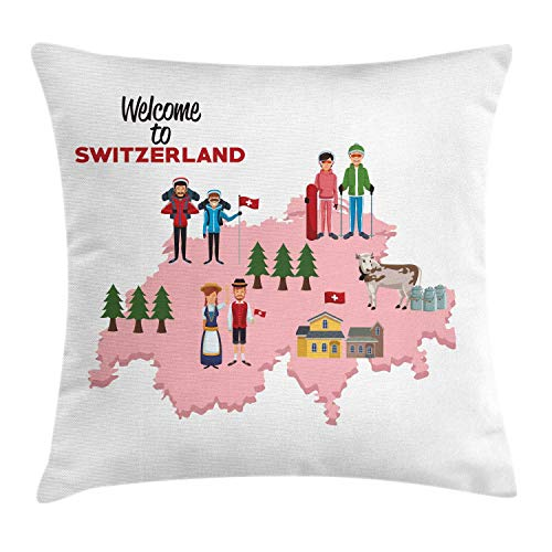 ZUL 3D Print Throw Pillow Covers,Composition with The Map of Switzerland and Indigenous European People,Decorative Square Cushion Covers Case for Sofa Couch Home Decor Thanksgiving Christmas
