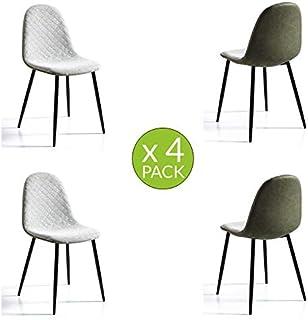 MOMMA HOME Set de 4 Sillas - Modelo Richmond - Color Verde Claro/Verde Oscuro - Material Ecopiel/Tela - Medidas 45 x 53 x 87 cm