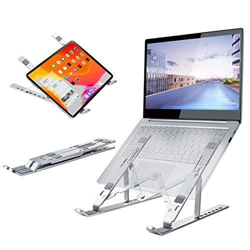 Laptop Ständer Faltbar, Tablet Laptop stand ,Flexibel Notebook Halterung Aluminium 7 Stufen Höhenverstellbar Computer Zubehör für 10-17 Zoll Notebook Ständer Erhöhung Schreibtisch Belüftet Kühlung