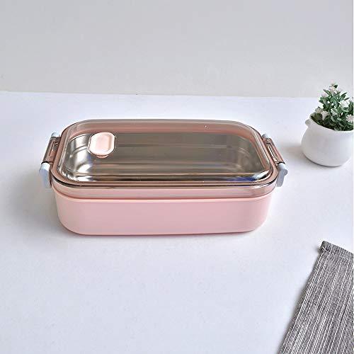 Hukphd Caja de almuerzo de acero inoxidable, caja de Bento multifuncional a prueba de fugas, caja de almuerzo de acero inoxidable caja...